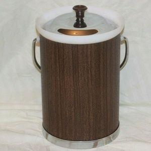 Other - VTG Kromex Mid Century Modern Ice Bucket Faux Wood